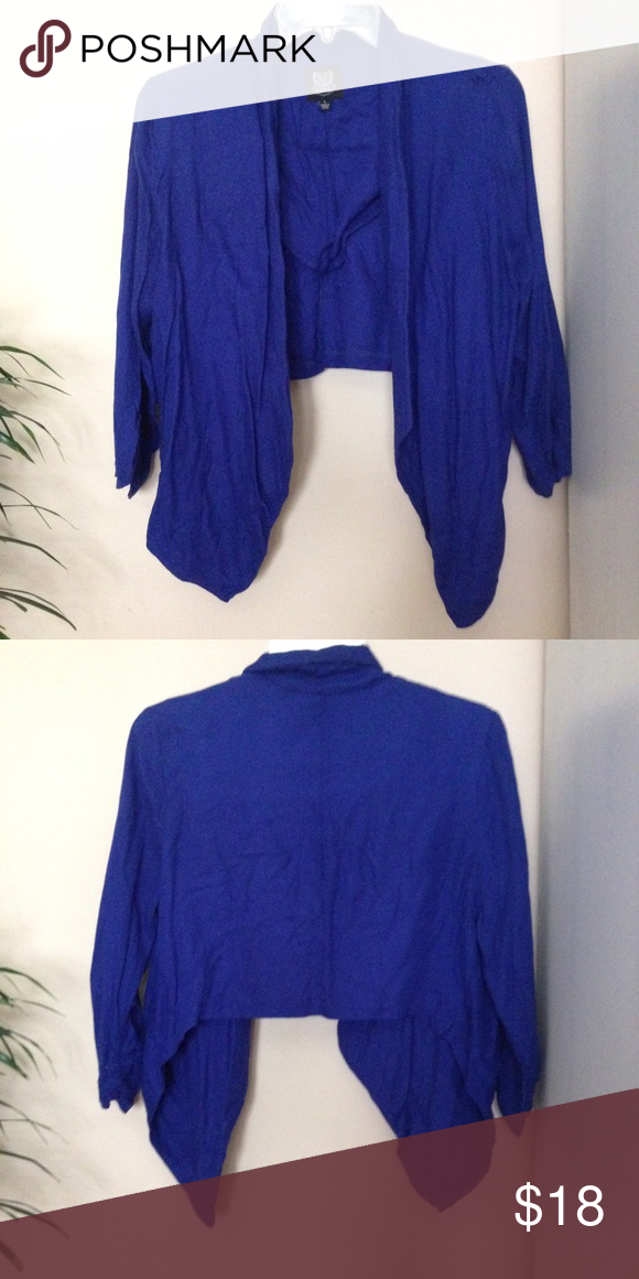 Blue draped front blazer Royal blue draped front blazer cardigan Mine Jackets & Coats Blazers