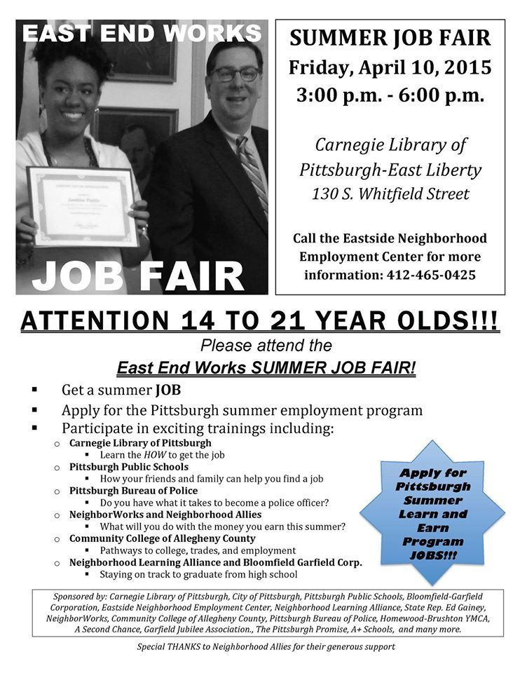 Calling All Pittsburgh Students Interested In A Summer Job On Friday April 10th There Will Be A Summer Job Fair For Te Summer Jobs Job Fair Employment Center