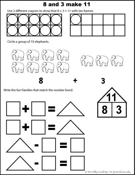 Number Bonds to 11 Free Math Worksheets | Free math worksheets ...