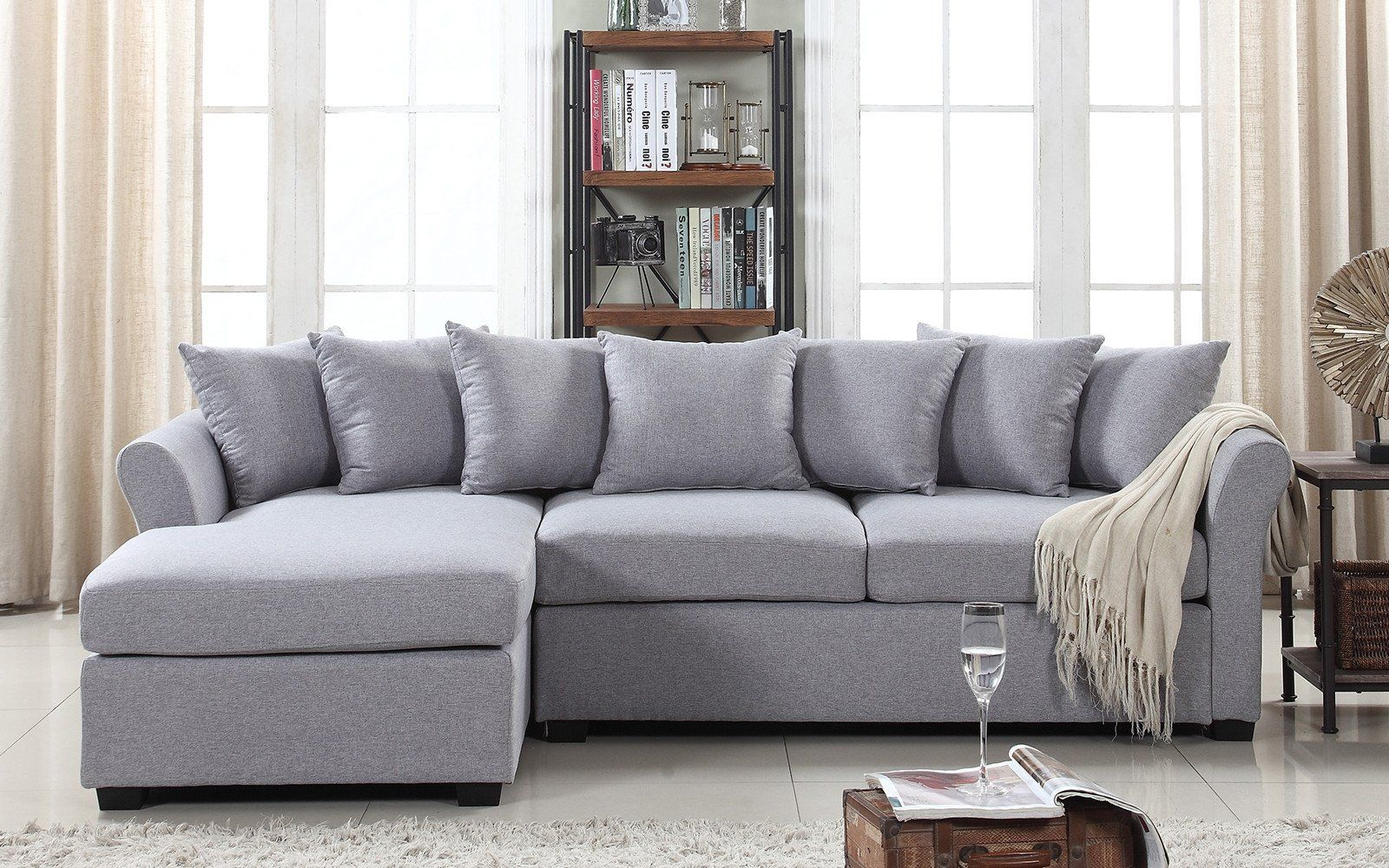 Joanne Classic Linen Sectional With Left Chaise Lounge Sectional