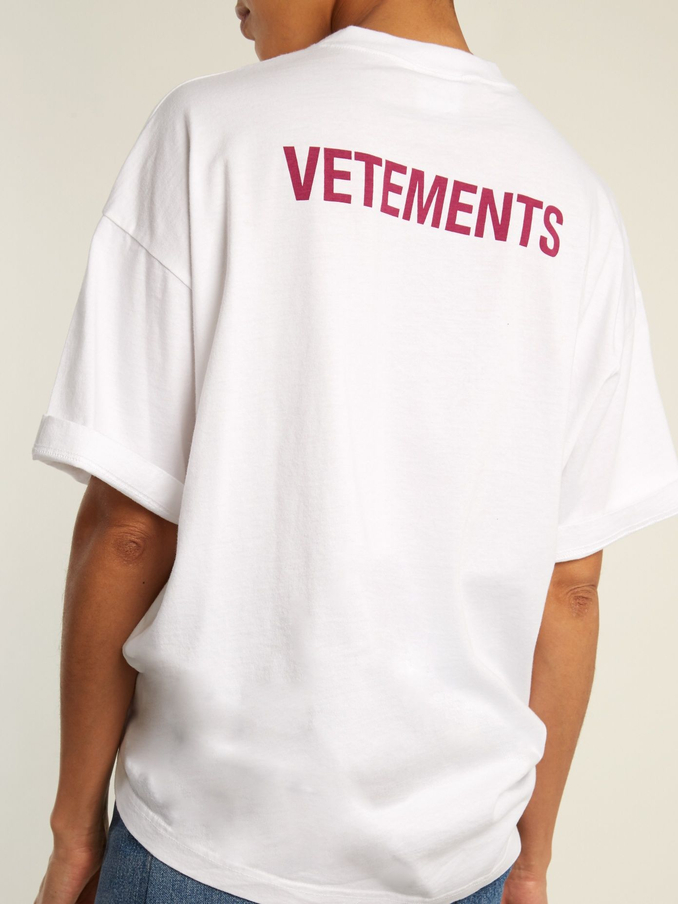 Click here to buy vetements staff print cotton t shirt at for Vetements basic staff t shirt