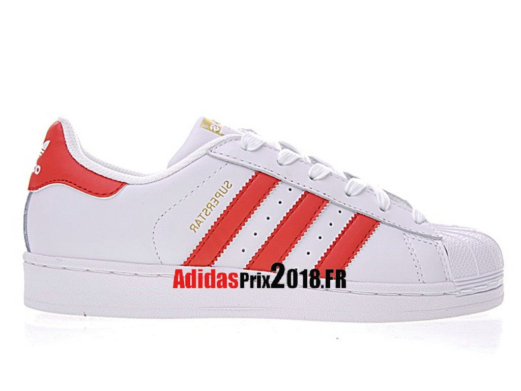 Adidas Superstar Foundation Blanc Rouge B27139 Chaussures ...