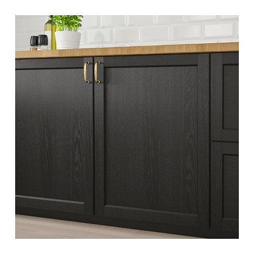 LERHYTTAN 2-p door f corner base cabinet set Black stained IKEA