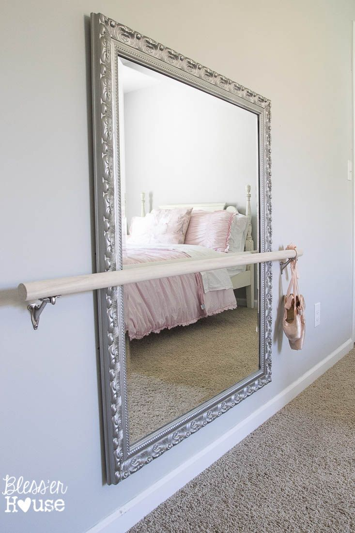 Diy ballet barre and how to hang a heavy mirror cuarto for Espejo habitacion nina