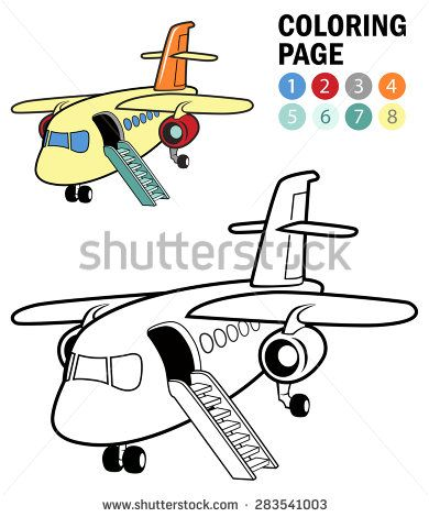 Outlines Sample For Drawing Lesson Coloring Page With Cartoon Airplane Which Can Be Colored Isolated Vector I Drawing Lessons Cartoon Airplane Coloring Pages