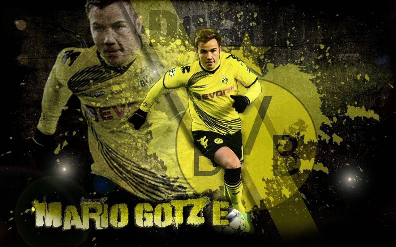Mario Gotze Borussia Dortmund Wallpaper Hd Http Www Wallpapersoccer Co Borussia Dortmund Wallpaper Germany National Football Team Football Players Pictures