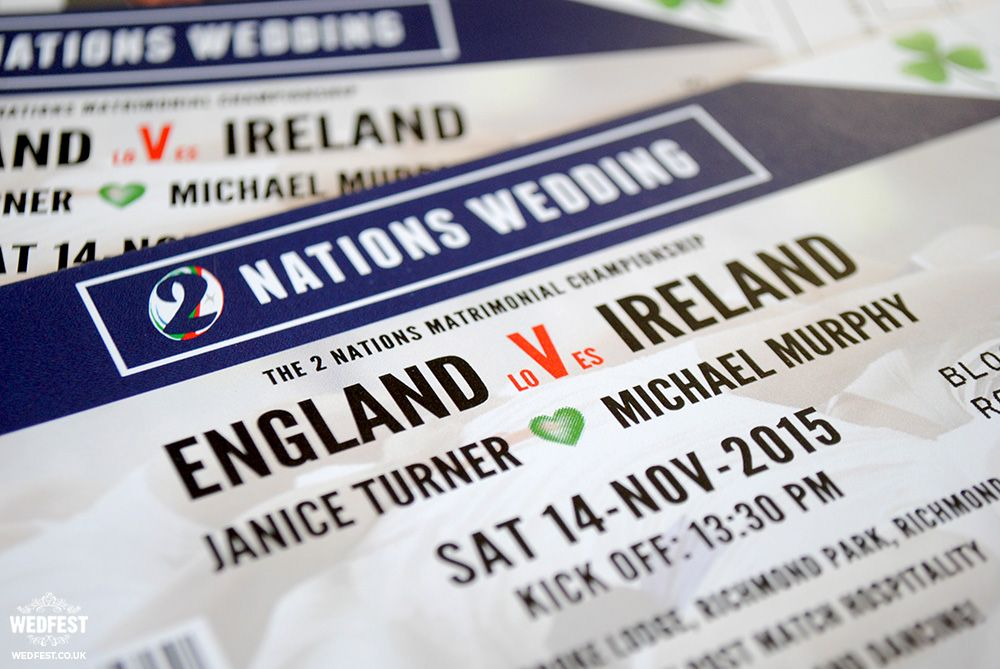2 Nations Wedding Rugby Ticket Invite Http Www Wedfest