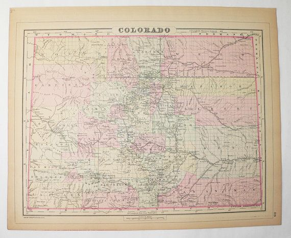 Antique Colorado Map Indian Territory Map 1886 Bradley Map of