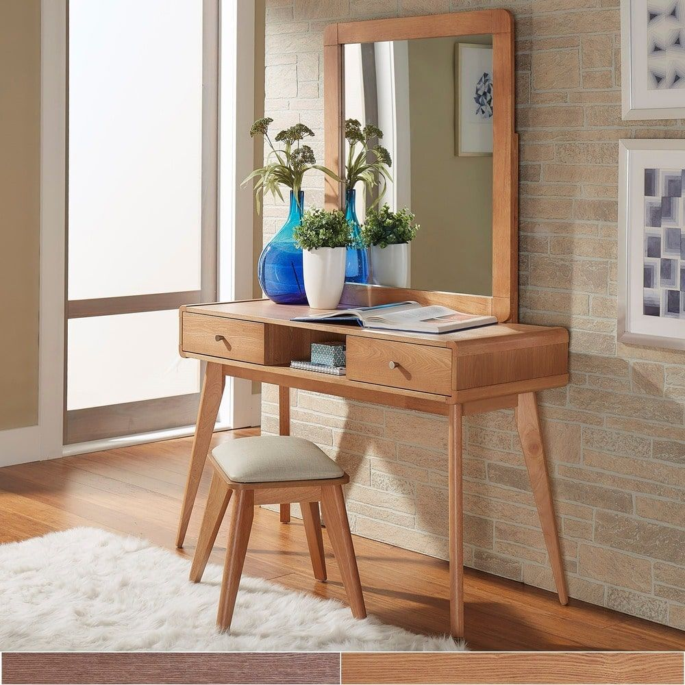 Penelope Danish Modern Vanity Console Table iNSPIRE Q Modern (Natural Oak  Table + Mirror + Stool), Brown