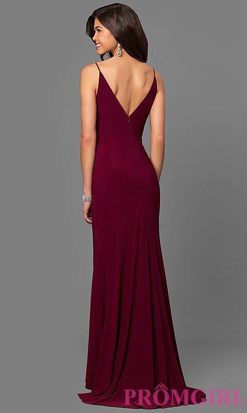 Image of wine red jersey v-neck long prom dress with side slit ...