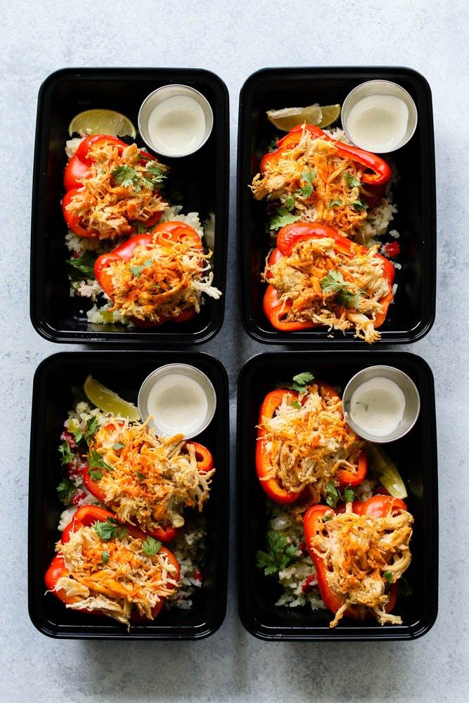 Buffalo Chicken Stuffed Pepper Meal Prep - Meal Prep on Fleek™