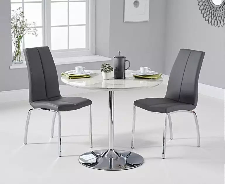 Delaney 90cm Round High Gloss Carrera Grey Dining Table With Cavello Dining Chairs Grey Dining Tables Kitchen Table Settings Dining Table Marble