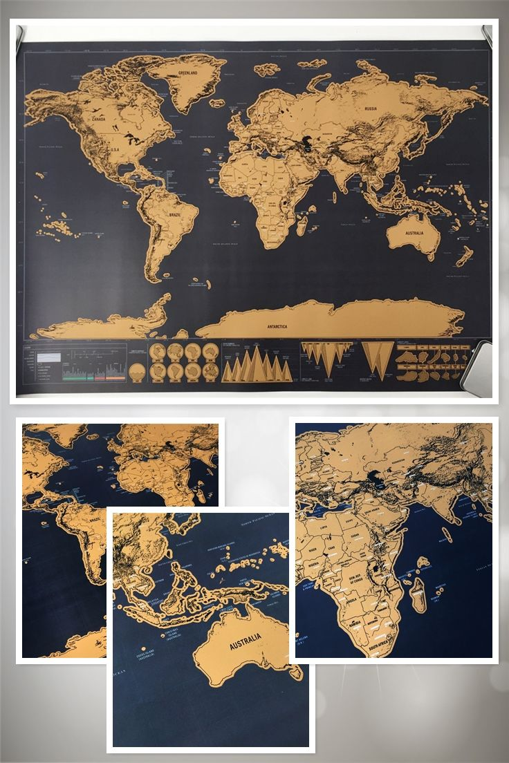 Map personalized world map mini foil layer coating poster wall map personalized world map mini foil layer coating poster wall sticker poster for living room travel great perfect to show off where youve been travelling gumiabroncs Images
