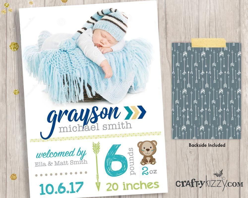 Woodland Boy Birth Announcement Card Tribal Birth Announcement
