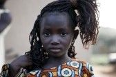 Tiebele,Burkina Faso - August 10,2009 : African girl, the gourounsi are a tribe living in Burkina Faso, near the border with Ghana,