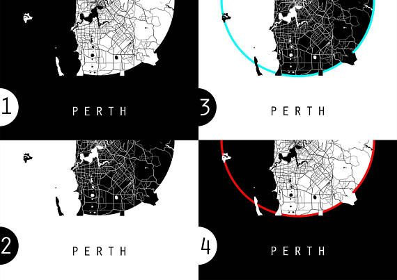 Perth Map Australia Map World Map Maps Black And White Map