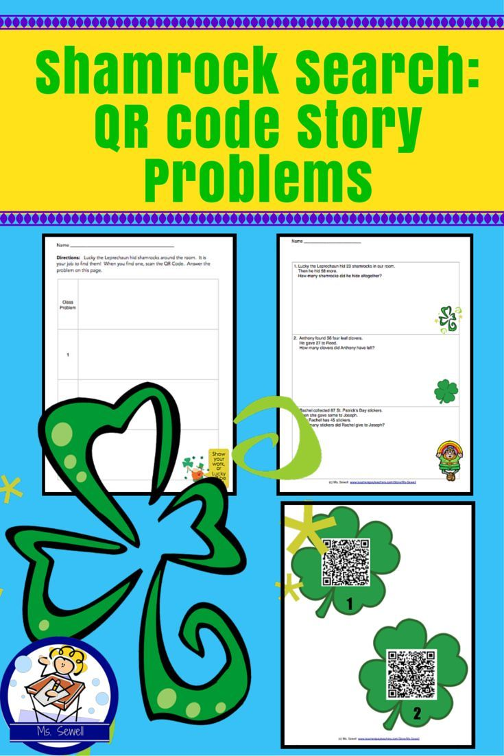 Shamrock Search: Qr Code Story Problems   Word problems, Qr codes ...