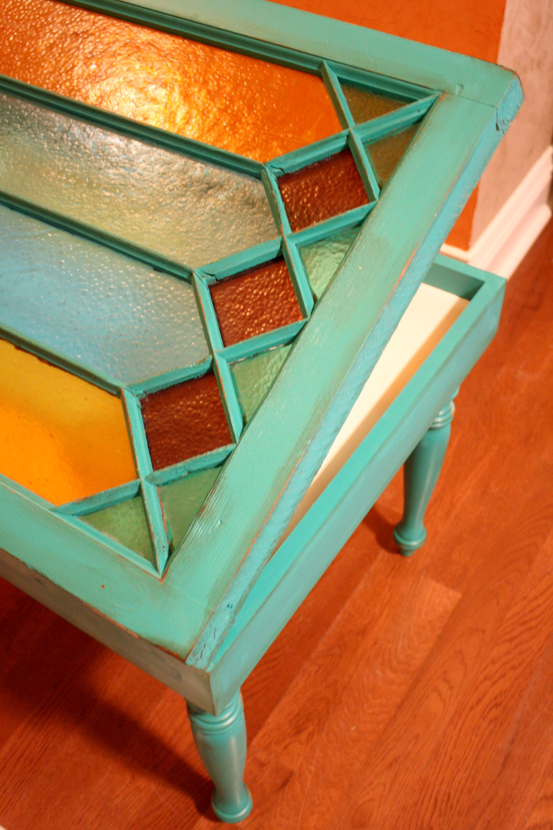 Table made from old drawers and windows by Gypsy Alley Girls