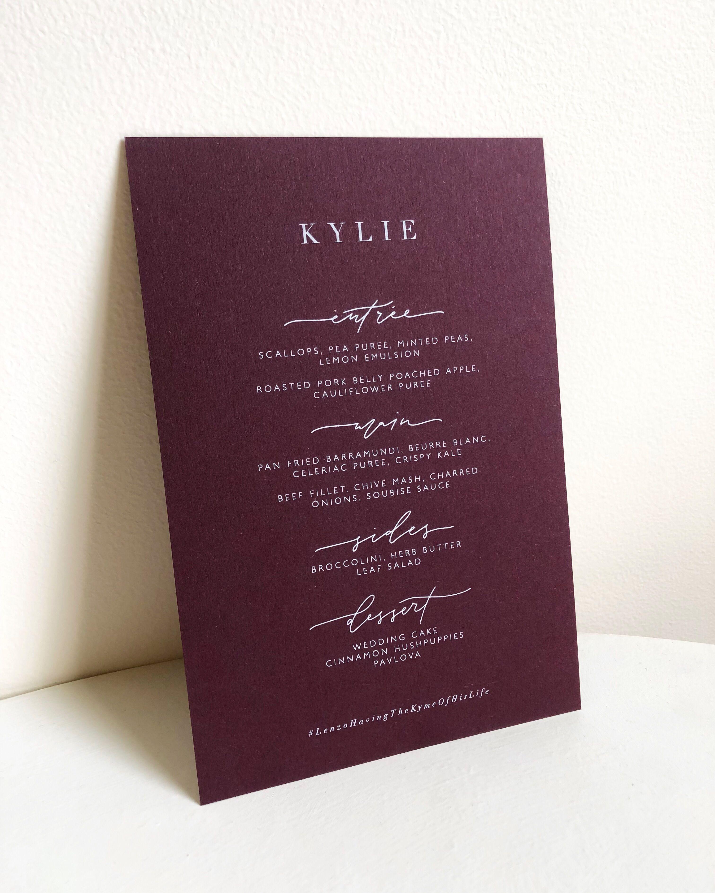 White and burgundy menus via paigetuzee_designs Minted