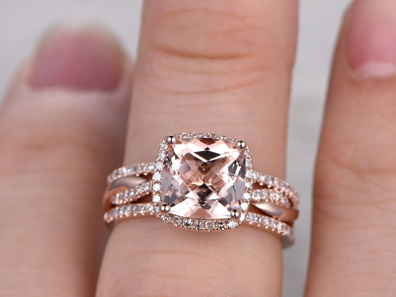 2.4 Carat Cushion Cut Morganite Rose Gold Wedding Set Diamond Bridal ...