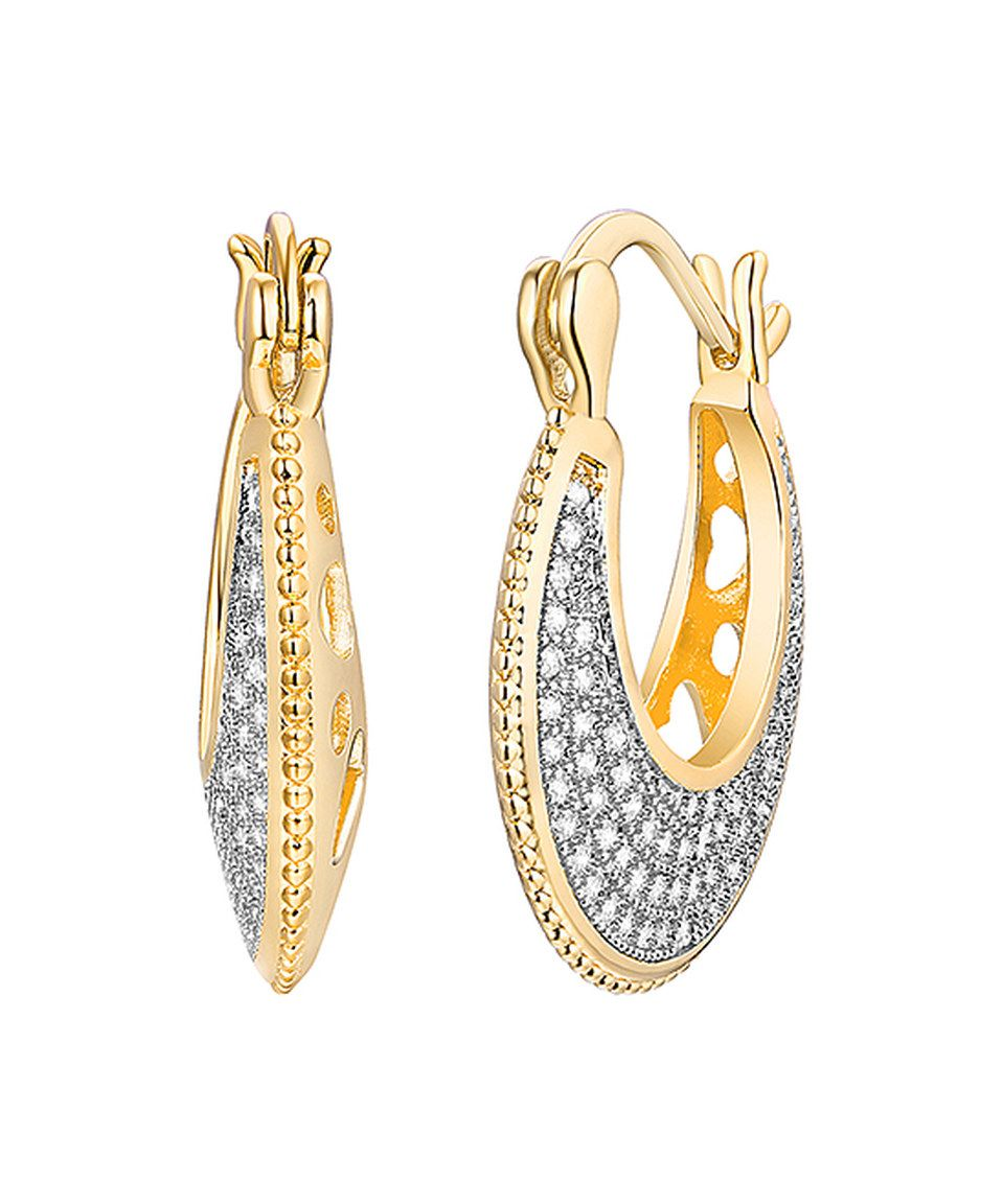 5bc38c966a67a Look at this #zulilyfind! Swarovski® Crystal & Gold Openwork Hoop ...
