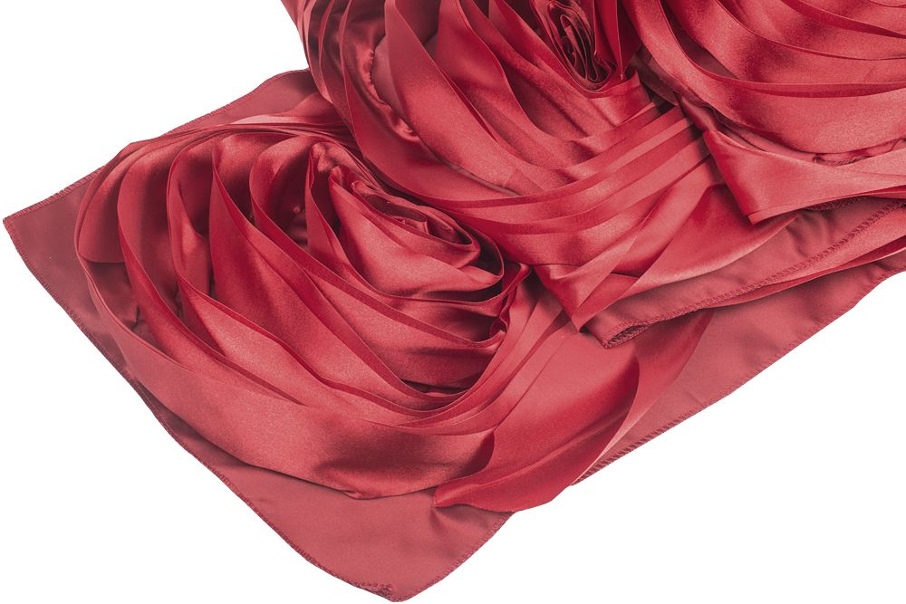 Large Rosette Flower Table Runner Apple Red (With images