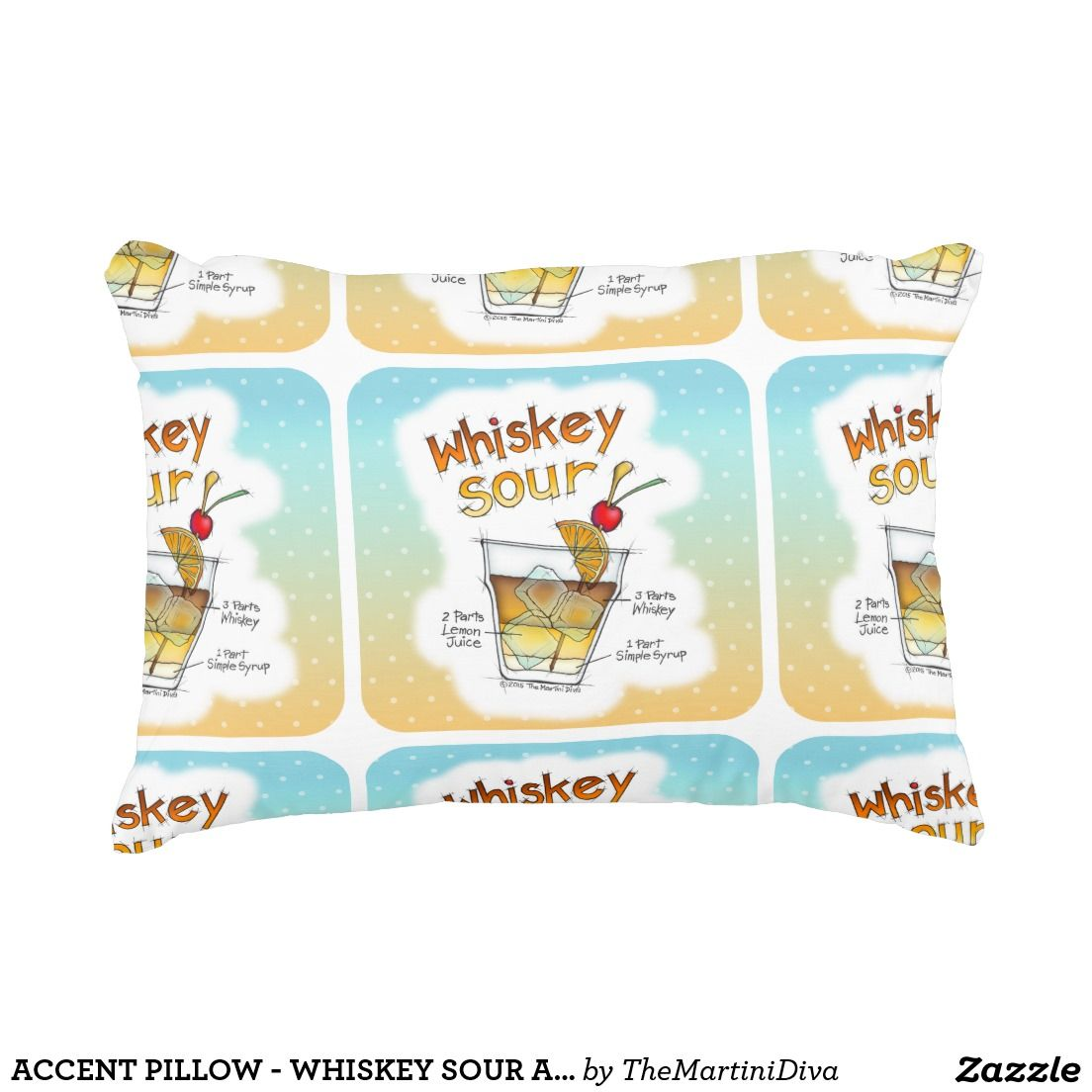 ACCENT PILLOW - WHISKEY SOUR ART with RECIPE PRINTED ON THE BACK