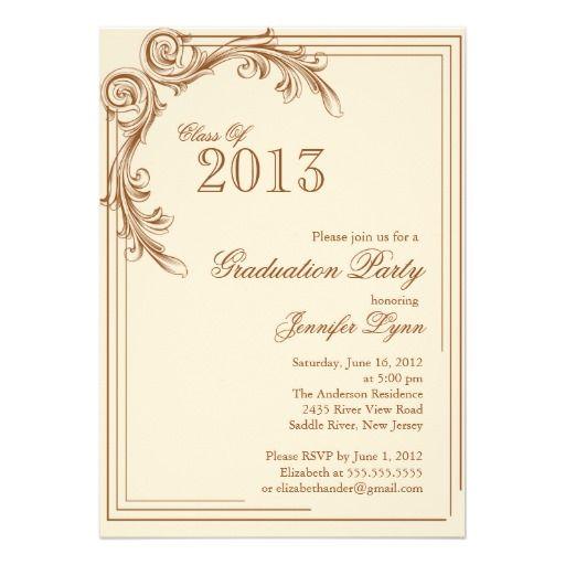 Graduation party invitations elegant vintage brown graduation graduation party invitations elegant vintage brown graduation party invitation from zazzle filmwisefo