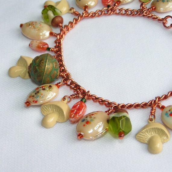 Woodland Charm Bracelet Vintage Beads by filigreefairy on Etsy, $52.00
