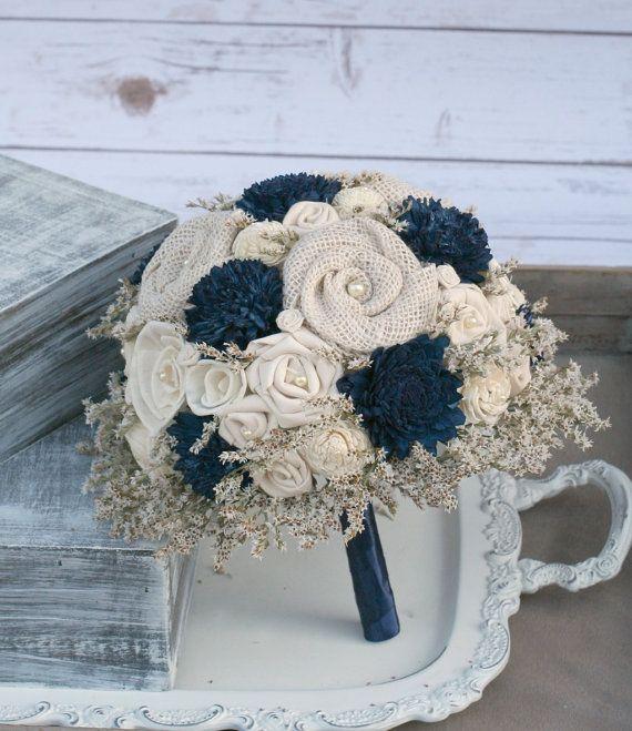 Navy and Creme Rustic Fabric Flower Bouquet Wedding Bouquet Wedding Bouquet Nautical Wedding Navy Blue Wedding Burlap Wedding