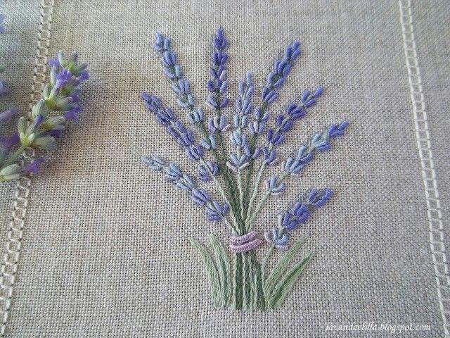 Lavender Embroidery On Linen Bordados Pinterest Lavender