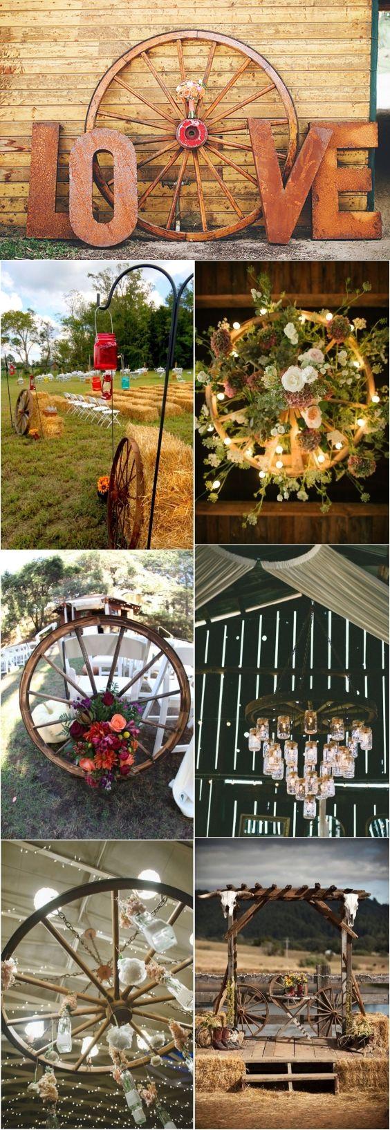rustic country wedding ideas with wagon wheel details wedding
