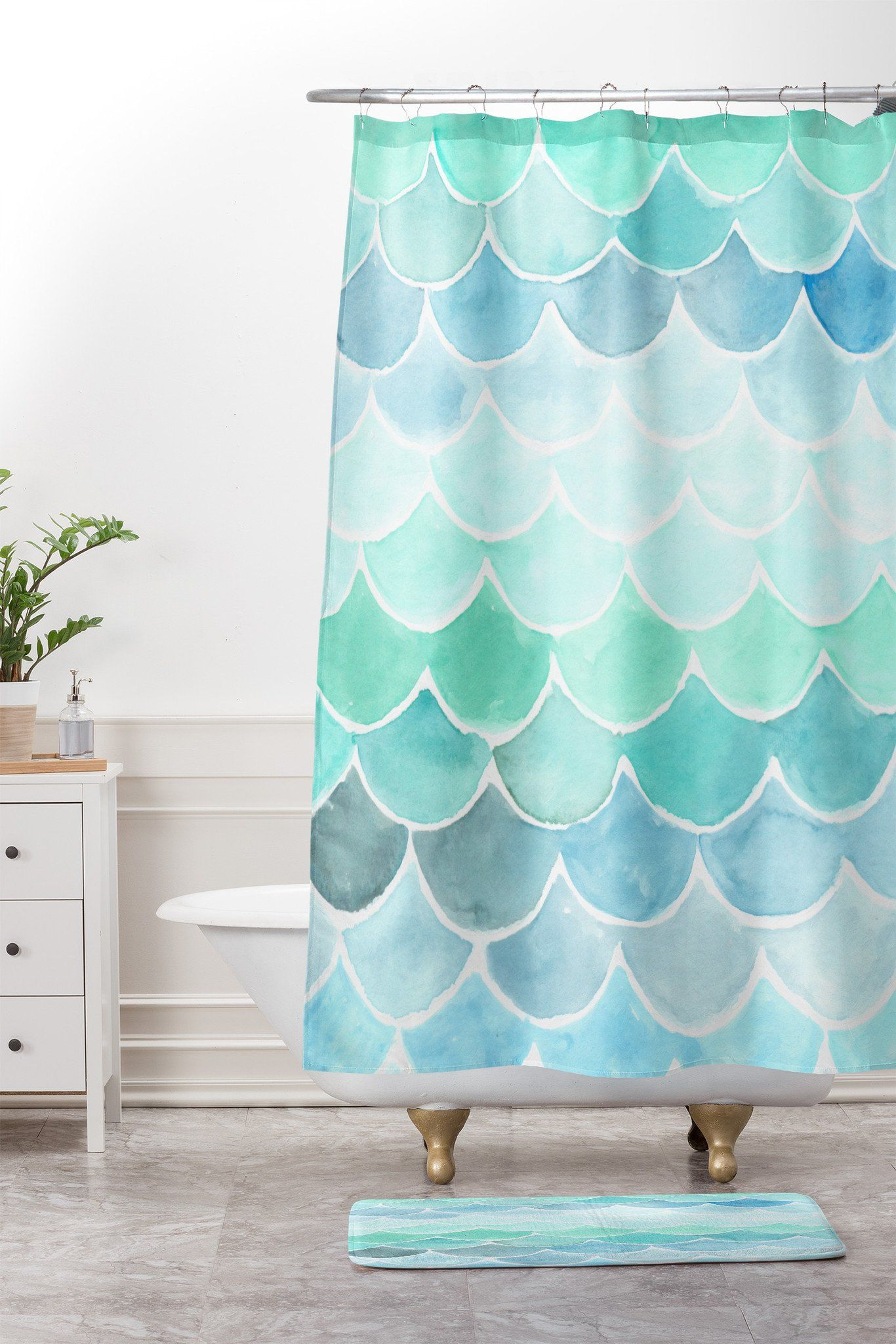 Wonder Forest Mermaid Scales Shower Curtain And Mat Deny Designs