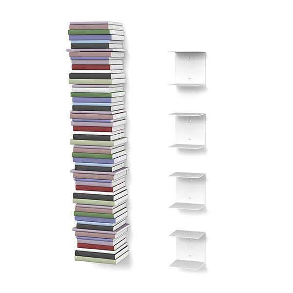 Unsichtbares Bücherregal 4er Set Klein In Weiss Design