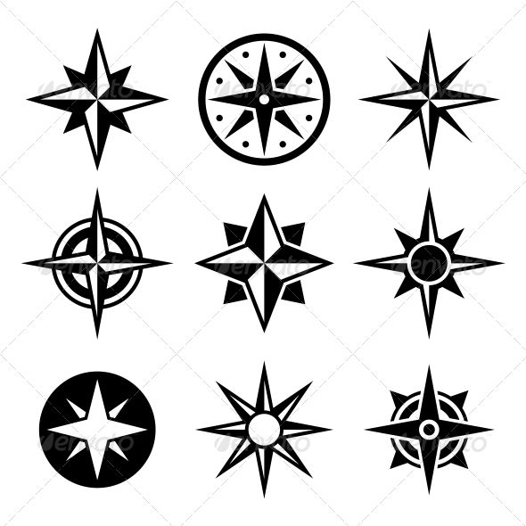 Compass And Wind Rose Icons Set Wind Rose North Star Tattoos