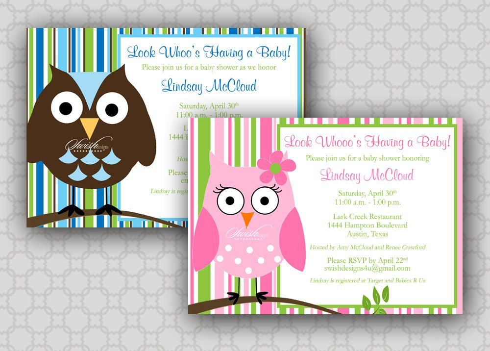 Owl Baby Shower Invitation - Look Whoos Having a Baby - Stripes - printable baby shower invite