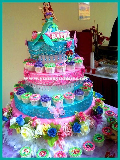ariel birthday cupcake cake