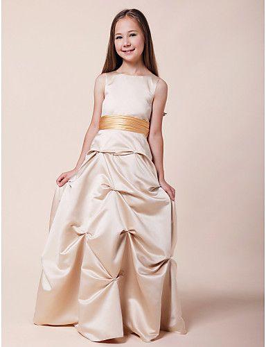 A-line Princess Bateau Floor-length Satin Junior Bridesmaid Dress