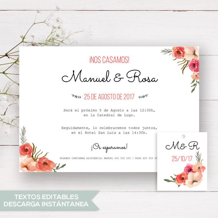 Invitación De Boda Rústica Rosa Plantilla Para Crear Tus