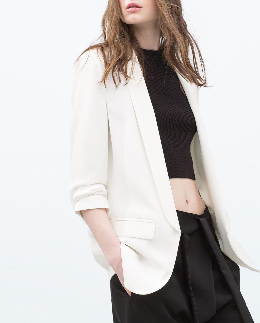 blazer crepe blanca zara