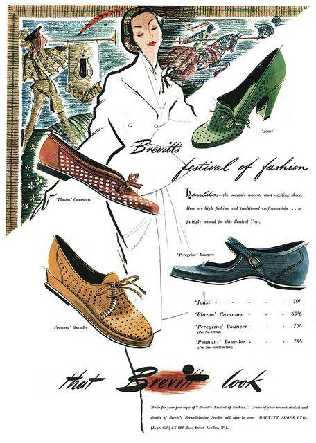 Brevitt Shoes advertisement, April 1951. #vintage #1950s #shoes #ads