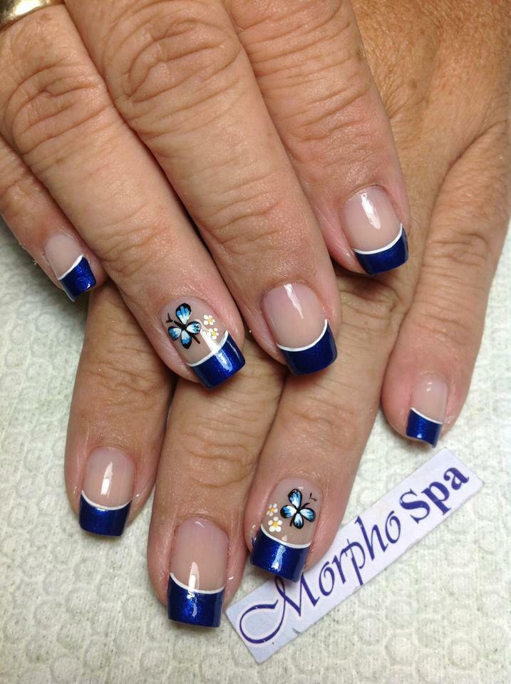 Azul Blanco Y Mariposa Uñas