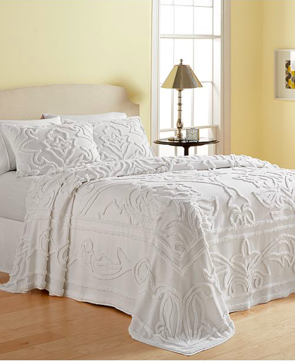 Martha Stewart Collection Wooster Tufted Chenille Full Bedspread White Bed Spreads Queen Bedspread Chenille Bedspread