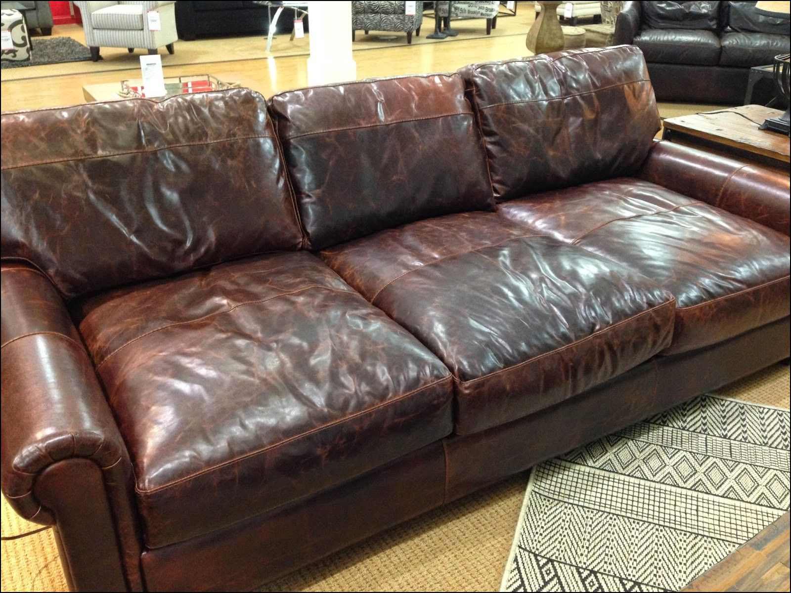 Restoration Hardware Leather Sofa For Sale