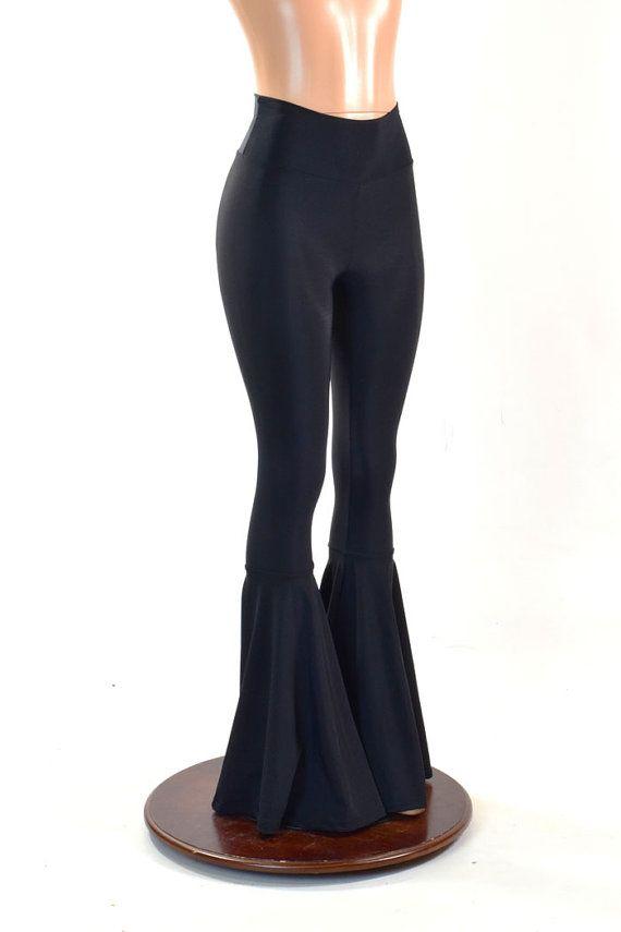 Black Lycra Spandex Bell Bottom Flares Leggings with High Waist ...