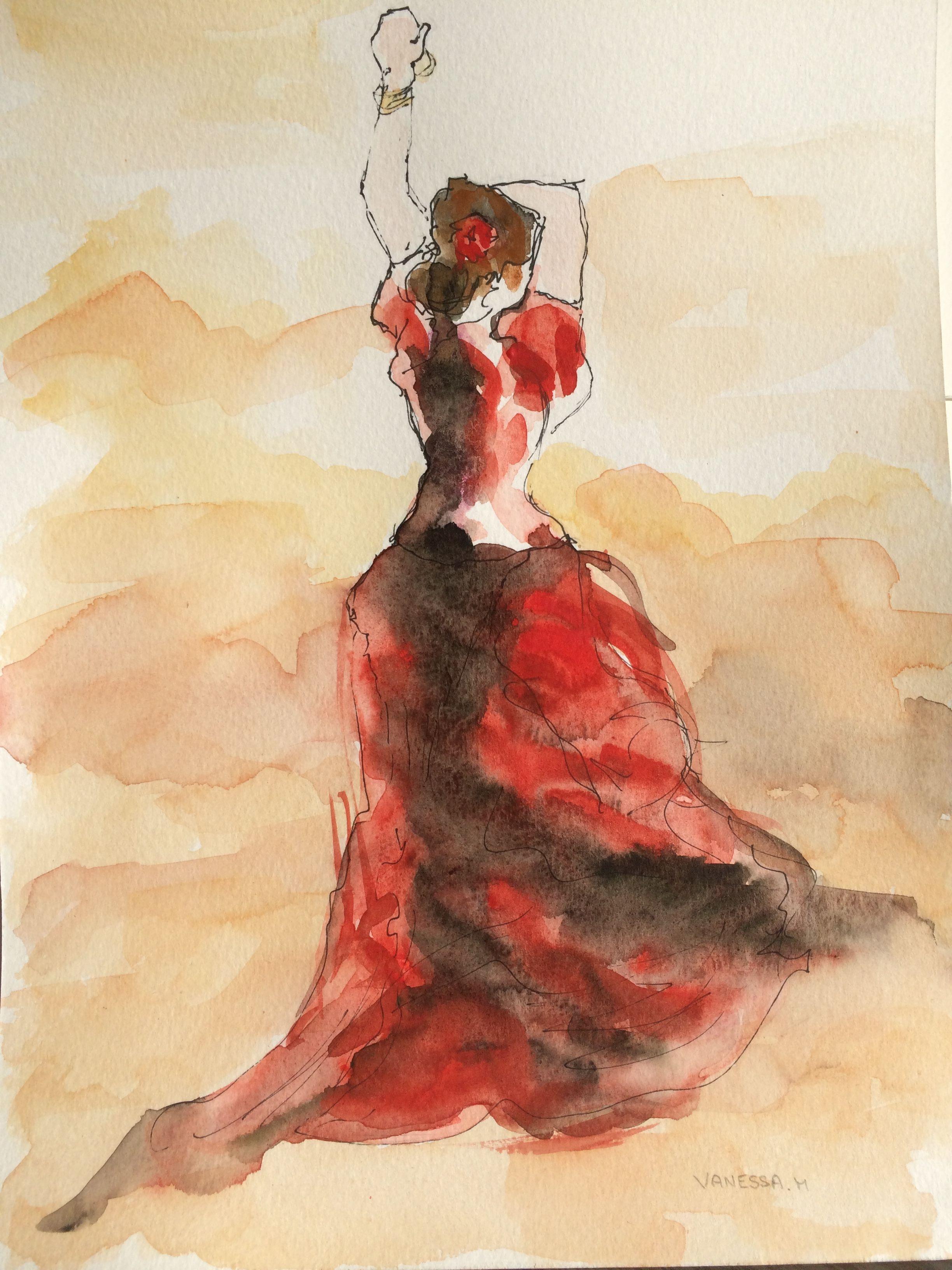 Danseuse de flamenco aquarelle format a4 mon site www - Danseuse flamenco dessin ...