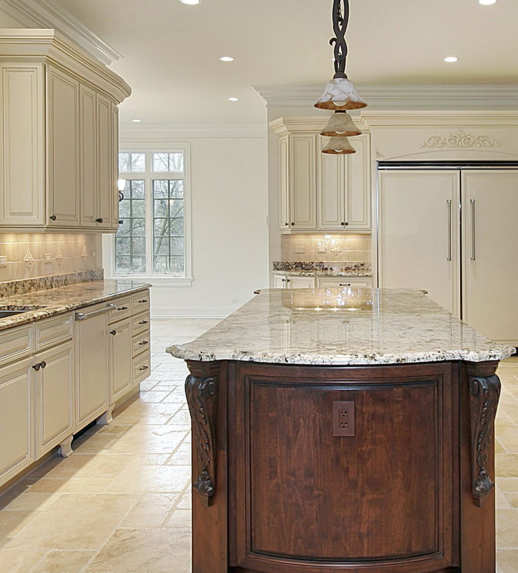 Prasada Kitchens And Fine Cabinetry: Antique White With Cherry Island - Design Ideas