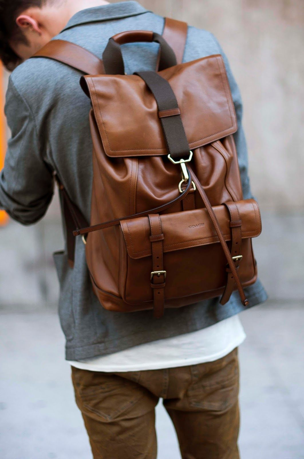 Leather Backpack Men Bag S Shoulder Laptop Travel Rucksack Mens School Coach New