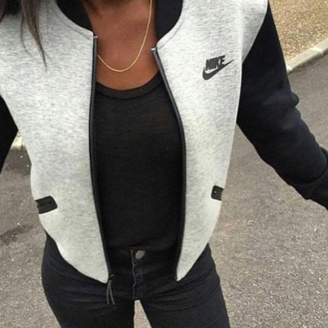 grey nike roshe womens jackets