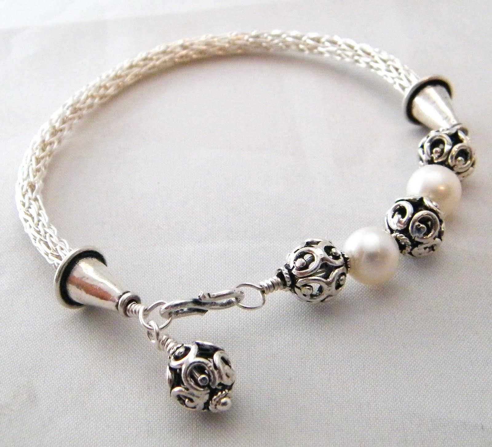 viking knit | Viking knit in fine silver with bali beads and AAA ...